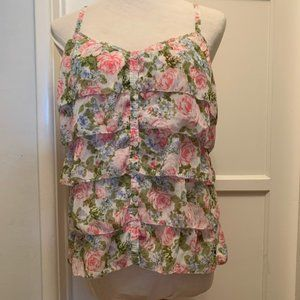 Abercrombie & Fitch Floral Ruffle Summer Tank
